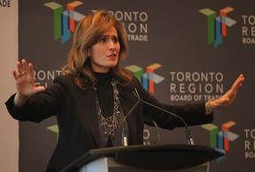 Sandra Pupatello, CEO of the Windsor Essex Economic Development Corporation speaks at a Toronto Region Board of Trade luncheon, Thurs. Oct. 24, 2013, in Toronto, Ont. She and mayor Eddie Francis were promoting the city of Windsor. (DAN JANISSE/The Windsor Star)