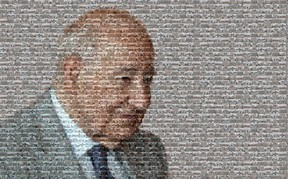 This mosaic of Ambassador Bridge owner Matty Moroun was created using about 175 images of properties his companies have purchased in Windsor. (Photo Illustration/The Windsor Star)