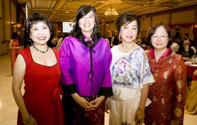 (From left to right) Catherine Fung, Betty Lee-Daigle, Mena Ng and Maggie Yip attend the Essex County Chinese Canadian Association's annual Chinese New Year gala at the Ciociaro Club Saturday, Feb. 22, 2014. (JOEL BOYCE/The Windsor Star)