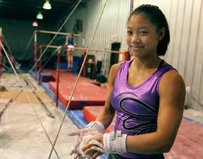 Local gymnast Lindsay Chia, 13, is currently ranked 14th in Canada in junior high performance. (DAX MELMER / The Windsor Star)