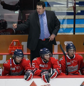 Oshawa Generals coach D.J. Smith talks to the officials at the WFCU Centre. (TYLER BROWNBRIDGE/The Windsor Star)
