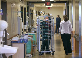A view of a crowded corridor on the sixth floor of Windsor Regional Hospital's Met Campus in November 2013. (Dan Janisse / The Windsor Star)