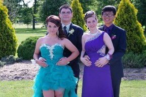 Left to right, Keirstin Diotte, Alexander Pare, Jacqueline Taranto, Joseph Tran.attend the Catholic Central prom on June 7th 2014. (Photo by Jeannette Taranto)