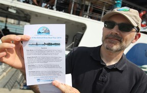 Derek Coronado, Citizens Environment Alliance co-ordinator, is pictured before the start of the State of the Detroit River boat cruise, Saturday, July 12 , 2014.  (DAX MELMER/The Windsor Star)