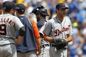 Detroit Tigers pitcher Justin Verlander leaves the mound after he was taken out of the game against the Kansas CIty Royals in seventh inning at Kauffman Stadium in Kansas City, Mo., Sunday, July 13, 2014. (AP Photo/Colin E. Braley)