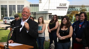 Local businessman and former Windsor mayor John Millson, makes it official by announcing he will run for the mayor's chair once again.  Millson, 62,  made the announcement at St. Clair College's Ford Centre for Excellence in Manufacturing surrounded by students and faculty.  Later, Millson signed paperwork at City of Windsor Clerk's Office. (NICK BRANCACCIO/The Windsor Star)