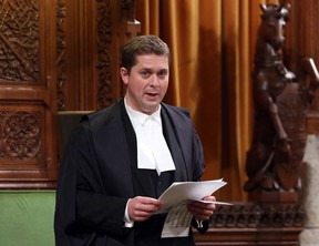 House of Commons Speaker Andrew Scheer stands in the House of Commons during Question Period on Parliament Hill, in Ottawa, Wednesday September 24, 2014. THE CANADIAN PRESS/Fred Chartrand