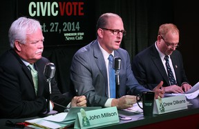 From left, mayoral candidates John Millson, Drew Dilkens, and Larry Horwitz, participate in a mayoral candidates debate at the Windsor Star News Cafe, Tuesday, Oct. 14, 2014.  (DAX MELMER/The Windsor Star)