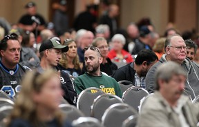 Unifor Local 200 members attend a meeting between union members and their leadership at the Caboto Club, Sunday, Oct. 25, 2014.  The meeting was to discuss Ford's decision not to invest in Windsor.  (DAX MELMER/The Windsor Star)