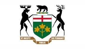 The crest of the Province of Ontario. (Image via Wikimedia Commons)