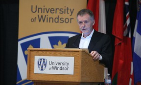 University of Windsor president and vice-chancellor Alan Wildeman delivers his UWindsor 2.0 plan in the Ambassador Auditorium at the University of Windsor on Monday, March 9, 2015. The plan, which outlines the future of the university, will be unveiled over the next three years. (TYLER BROWNBRIDGE/The Windsor Star)