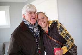 Marilynn Harcus thanks Michael Rovers for helping her move into a new apartment. - John Chan photo