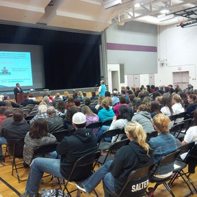 More than 150 parents and students attended a fourth and final meeting at Kingsville High School, to listen to recommendations for five area high schools with capacity issues. (Dane Wanniarachige/Special to The Star)