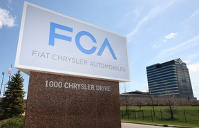 The Fiat Chrysler sign marks the entrance to the automaker's world headquarters in Auburn Hills, Mich. (DAX MELMER / Windsor Star files)