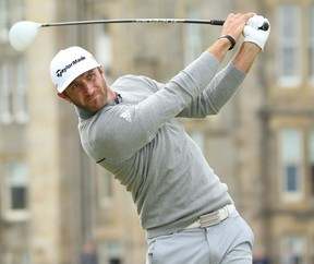 Dustin Johnson of the United States tees off on the 2nd hole during the first round of the 144th Open Championship at The Old Course on July 16, 2015 in St Andrews, Scotland.  (Photo by Andrew Redington/Getty Images)
