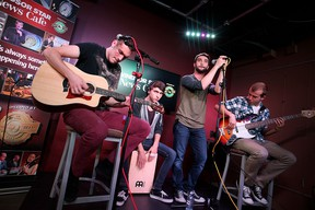 Jake Diab, Jeremy Brousseau, Joseph Coccimiglio and Tibor Bognar of Autumn Kings perform at the Windsor Star News Cafe on Wednesday, July 15, 2015. (DYLAN KRISTY/The Windsor Star)