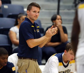 University of Windsor interim men's head basketball coach Ryan Steer during action vs University of Indianapolis at the St. Denis Centre on August 18, 2015 in Windsor, Ontario. (JASON KRYK/The Windsor Star)