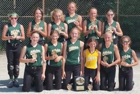 The LaSalle Athletics novice team placed second at the Can Am Games in Richmond, Mich. Front row, from left: Allison Lesonsky, Brynlee Ammonite, Olivia Scott, Bat Girl Chloe Kalaydjian, Julia D'Angela, Claire Fields; back row, from left: Abby Hunt, SeMonde Snauwaert, Emilie Kalaydjian, Selina Shaw, Jordan Green, Bailey Griggs