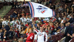 Fans celebrate a first period Windsor Spitfires goal  during  the Ontario Hockey League opening game against the Erie Otters at the WFCU Centre in Windsor, Ontario on September 24, 2015. (JASON KRYK/The Windsor Star)