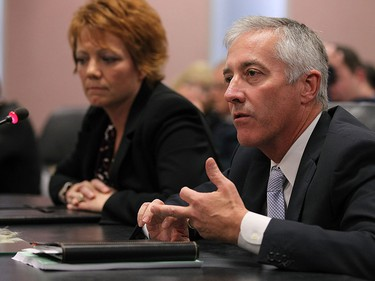 Jacqueline Peterson and Bruce Webster (right) answer questions during a regular meeting at city hall in Windsor on Thursday, October 29, 2015.