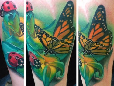 Handout photos of tattoo work by artist John Wayne, owner of Beesting Tattoo in Belle River, Ont.
