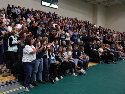 The crowd applauds during a special Greater Essex County District School Board meeting at the St. Clair College SportsPlex in Windsor on Tuesday, October 13, 2015. The closure of Harrow District High School and Western Secondary School was the topic of the special meeting.
