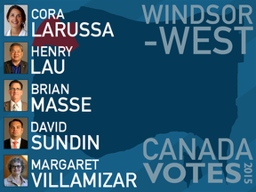 The candidates running in the riding of Windsor-West are pictured in this illustration.