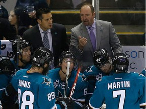According to reports, Bob Boughner, left, seen here with San Jose Sharks head coach Peter DeBoer, could be named head coach of the Florida Panthers as early as Monday.
