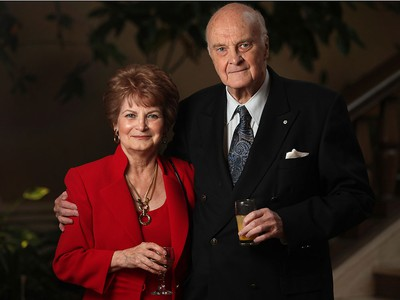 The Honourable Howard Pawley and his wife, Adele Pawley, attend the University of Windsor Political Science gala at the Caboto Club, Friday, Oct. 18, 2013.