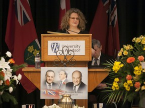 Charysse Pawley, daughter of Howard Russell Pawley, speaks at a celebration of the former Manitoba Premier's life, at the University of Windsor's Ambassador Auditorium, Saturday, Jan 9, 2016.
