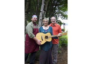 Martha and Todd Lucier are shown at their Northern Edge Algonquin retreat with Gregor Waters (left), their friend and business partner. Originally from Windsor, Waters's talents as chef, gardener and master craftsman have come in handy. - courtesy Martha and Todd Lucier
