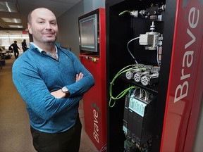 Brent McPhail, president of Brave Control Solutions, is shown at the Windsor, Ont. business on Friday, Feb. 26, 2016. He is frustrated that Windsor was left out of the innovation corridor in the Ontario budget.