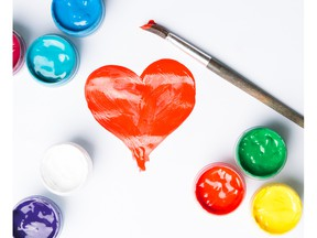 Drawing of a heart and a set of paints. Photo by fotolia.com.