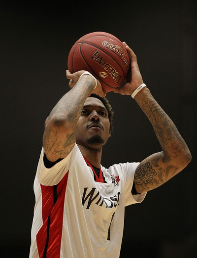 The Windsor Express' Maurice Bolden fires a free throw against the London Lightning during the Clash at the Colosseum at Caesars Windsor on Wednesday, February 3, 2016.