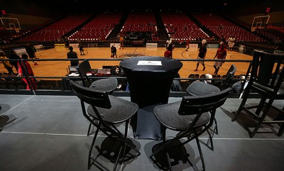 A reserved VIP table is seen as the Windsor Express prepare to take on the London Lightning at Caesars Windsor on Wednesday, Feb. 3, 2016.