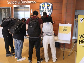 University of Windsor students vote on the UWindsor transit pass referendum on Wednesday, March 16, 2016, at the Odette School of Business on campus.