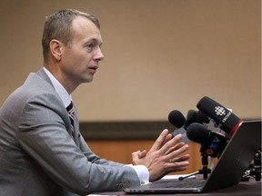 Lawyer Robert Talach, shown in a Nov. 16, 2015 news conference, represents the three alleged victims in a civil suit against priest Linus Bastien. The 89-year-old Bastien died June 19 in his home in Petrolia.