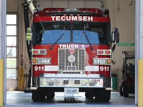 A fire truck is shown at the Tecumseh Fire and Rescue Station 1 on Aug. 6, 2015.