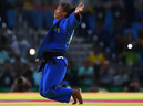 Rafaela Silva of Brazil celebrates after defeating Sumiya Dorjsuren of Mongolia.
