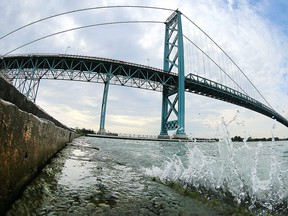 The Ambassador Bridge is shown on Aug. 30, 2016, from Windsor.