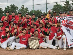 Members of the St. Clair men's baseball team celebrate after winning their fourth straight OCAA championship on Oct. 23, 2016 in Etobicoke.