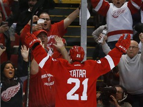Detroit Red Wings' Tomas Tatar (21) celebrates his goal against the Tampa Bay Lightning in the second period of Game 6 of a first-round NHL Stanley Cup hockey playoff series on April 27, 2015, in Detroit.