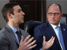 Windsor's economic development officer Matthew Johnson. left, and Mayor Drew Dilkens hold a news conference Friday to unveil details of a concierge-style service to guide investors.
