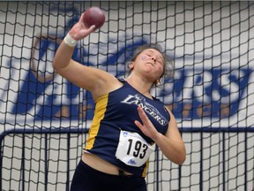 University of Windsor Lancers'  Beth Kester competes in the shot put during the 36th Can-Am Classic at the University of Windsor Fairall Fieldhouse on Jan. 13, 2017.