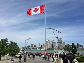 The Great Canadian Flag Project after it was raised on Windsor's riverfront on the morning of May 20, 2017.