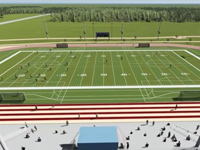 This screen grab from a promotional video shows a graphic rendition of the new Leamington District Secondary School field.