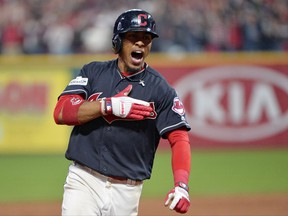 Cleveland Indians' Francisco Lindor reacts after hitting a grand slam off New York Yankees relief pitcher Chad Green during the sixth inning of Game 2 of a baseball American League Division Series in Cleveland on Oct. 6, 2017,