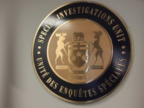 The emblem of Ontario's Special Investigations Unit at their headquarters in Mississauga in September 2013.