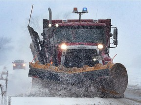 A snowplough is shown on Little Baseline Road in Lakeshore on Wednesday, Dec. 13, 2017.