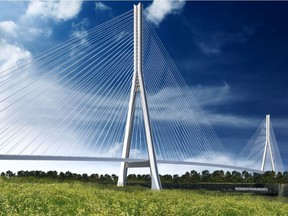 Rendering shows one possible cable-stayed concept of the planned Gordie Howe International Bridge. (Photo courtesy of Windsor-Detroit Bridge Authority and conceptual illustration only/Windsor Star)